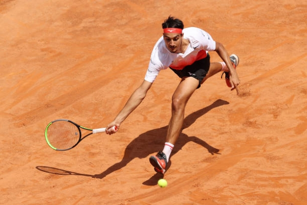 Lorenzo Sonego in action ahead of the French Open.