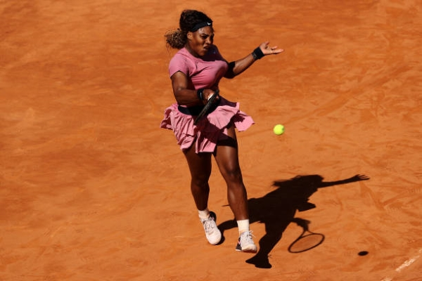 Serena Williams in action at the WTA Italian Open.