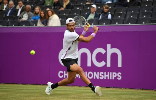 Matteo Berrettini in action at the ATP Queen's Club Championships.
