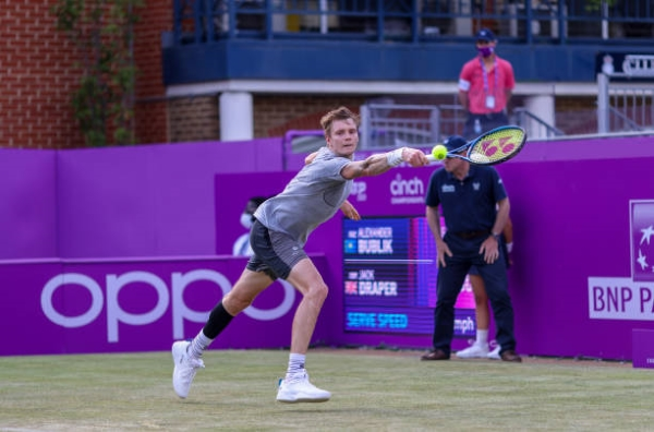 Alexander Bublik in action ahead of the Wimbledon Championships.