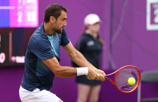 Marin Cilic in action ahead of the Wimbledon Championships.