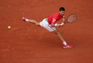 Novak Djokovic in action at the French Open.