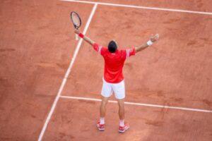 Novak Djokovic celebrates victory at the French Open.