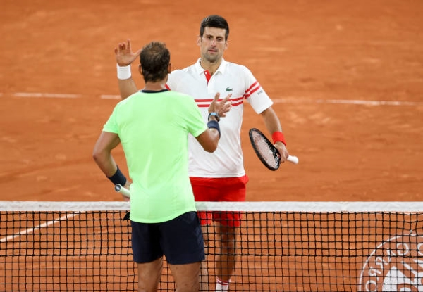 Novak Djokovic and Rafael Nadal at the conclusion of their French Open semifinal.