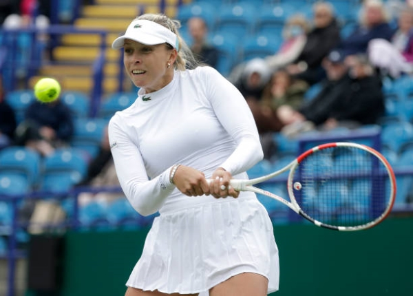 Anett Kontaveit in action at the WTA Eastbourne International.