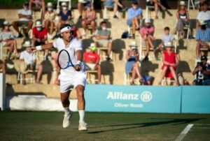 Feliciano Lopez in action at the ATP Mallorca Championships.
