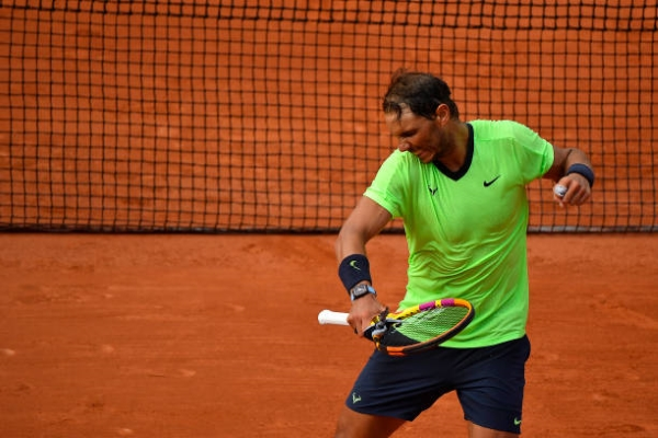 Rafael Nadal celebrates victory at the French Open.