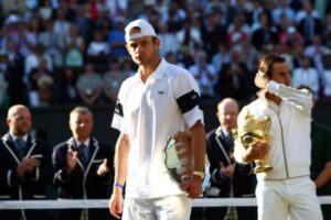 Andy Roddick in the wake of defeat in the 2009 Wimbledon final.