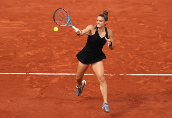 Maria Sakkari in action at the French Open.