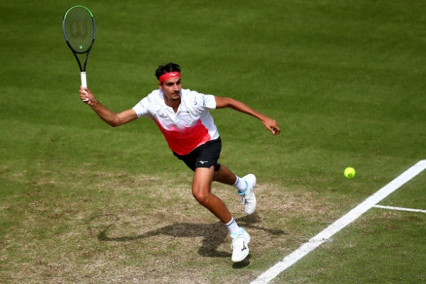Lorenzo Sonego in action ahead of the Wimbledon Championships.