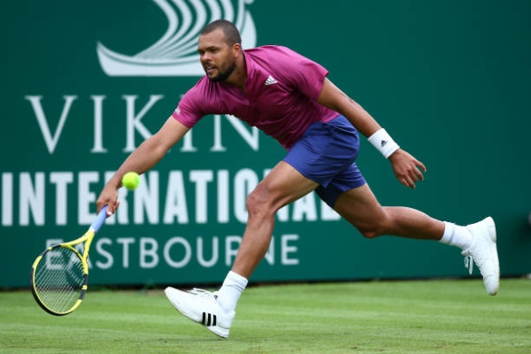 Jo-Wilfried Tsonga in action ahead of the Wimbledon Championships.