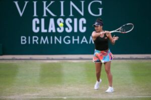 Heather Watson in action at the WTA Birmingham Classic.