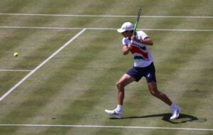 Alex de Minaur in action at the ATP Eastbourne International.