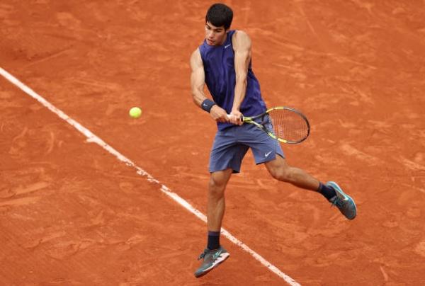 Carlos Alcaraz in action ahead of the ATP Umag Open.