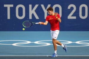Pablo Carreno Busta in action at the Tokyo Olympics.