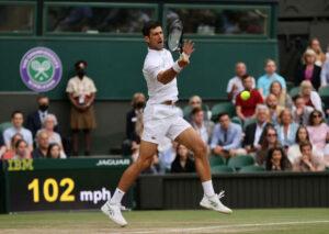 Novak Djokovic in action at Wimbledon.
