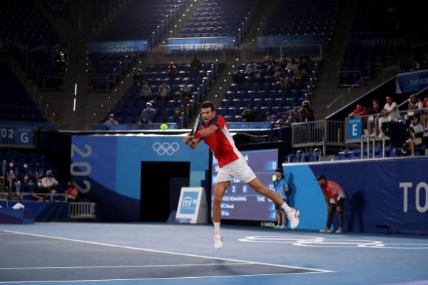 Novak Djokovic in action at the Tokyo Olympics.