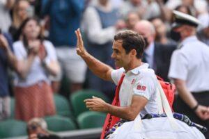 Roger Federer after defeat at Wimbledon.