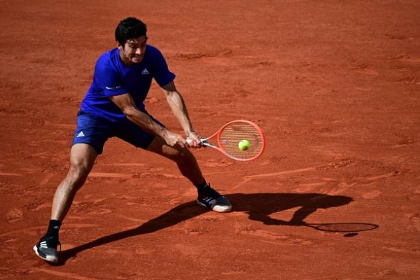 Cristian Garin in action ahead of the ATP Gstaad Open.
