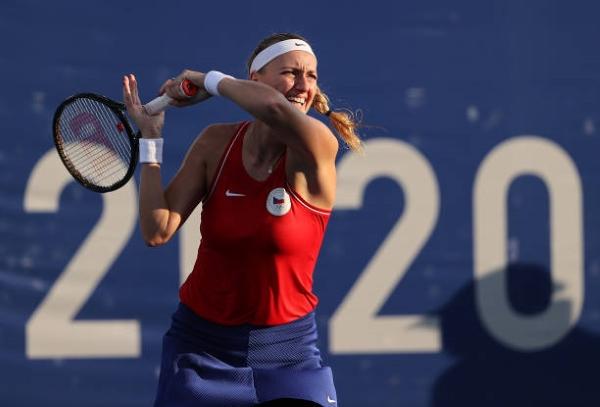 Petra Kvitova in action at the Tokyo Olympics.