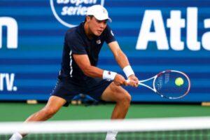 Brandon Nakashima in action at the ATP Atlanta Open.