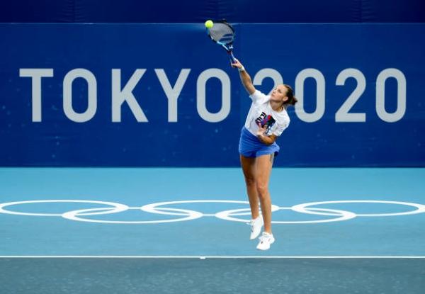 Karolina Pliskova training at the Tokyo Olympics.