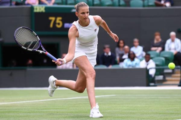 Karolina Pliskova in action at Wimbledon.