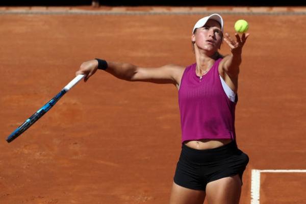 Yulia Putintseva in action ahead of the WTA Budapest Grand Prix.