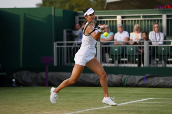 Emma Raducanu in action at Wimbledon.
