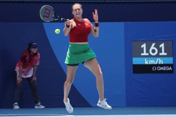 Aryna Sabalenka in action at the Tokyo Olympics.