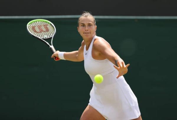 Aryna Sabalenka in action at Wimbledon.