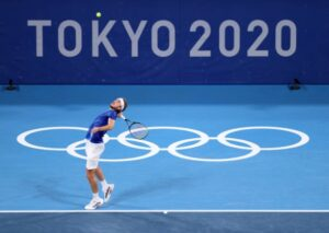 Stefanos Tsitsipas in action at the Tokyo Olympics.