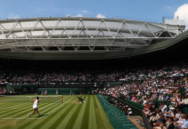 Action from Centre Court at Wimbledon.