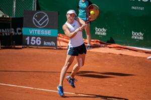 Tamara Zidansek in action at the WTA Lausanne Open.