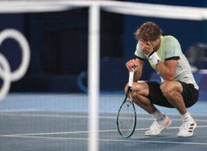 Alexander Zverev on court after beating Novak Djokovic.