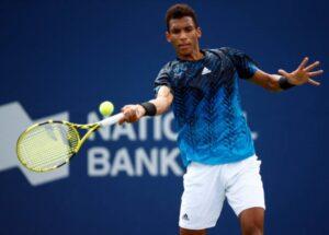 Felix Auger-Aliassime in action ahead of the ATP Cincinnati Masters.