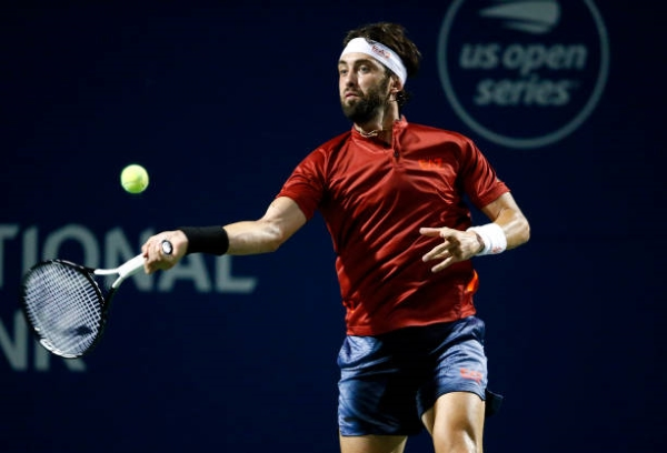 Nikoloz Basilashvili in action ahead of the ATP Cincinnati Masters.
