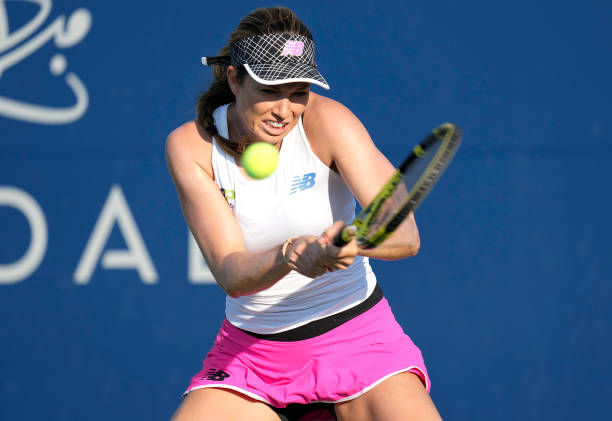 Danielle Collins in action at the WTA San Jose Classic.