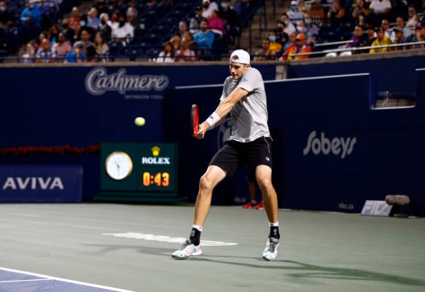 John Isner in action at the ATP Toronto Open.