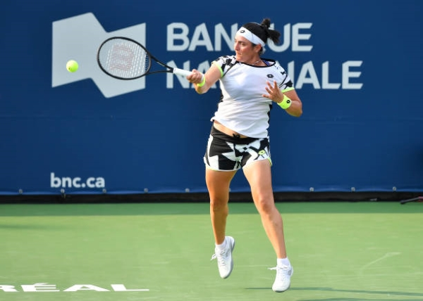 Ons Jabeur in action at the WTA Montreal Open.