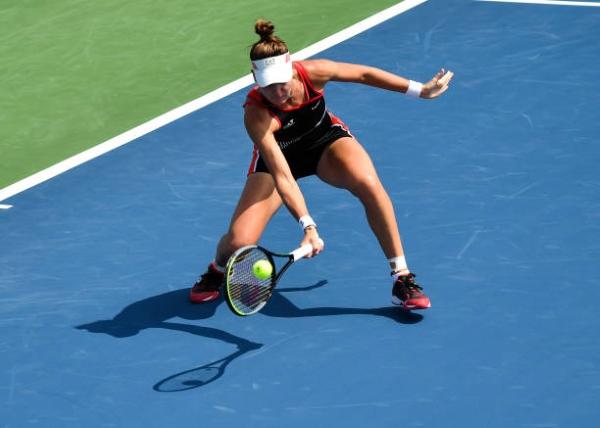 Veronika Kudermetova in action ahead of the US Open.