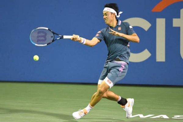Kei Nishikori in action at the ATP Washington Open.