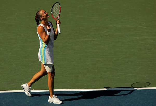 Mary Pierce celebrates victory in the semifinals at the US Open.