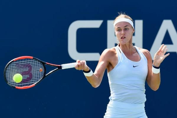 Anna Karolina Schmiedlova in action at the US Open in 2018.