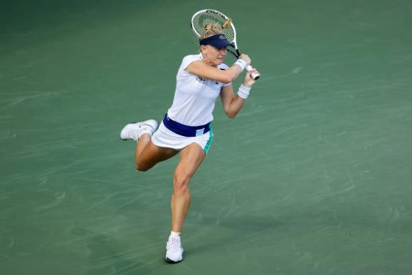 Jil Teichmann in action at the WTA Cincinnati Open.