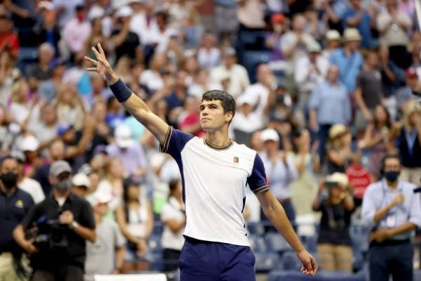 Carlos Alcaraz celebrates his third-round win at the US Open.