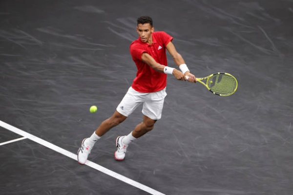 Felix Auger-Aliassime in action at the Laver Cup.