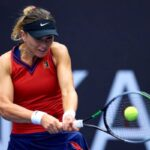 Paula Badosa in action at the WTA Ostrava Open.