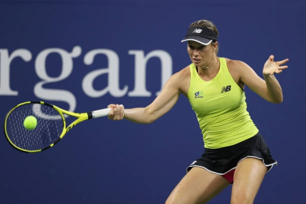 Danielle Collins in action ahead of the WTA Chicago Classic.
