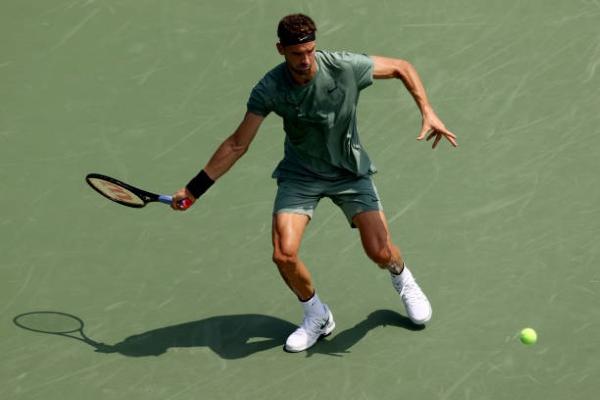 Grigor Dimitrov in action ahead of the ATP San Diego Open.